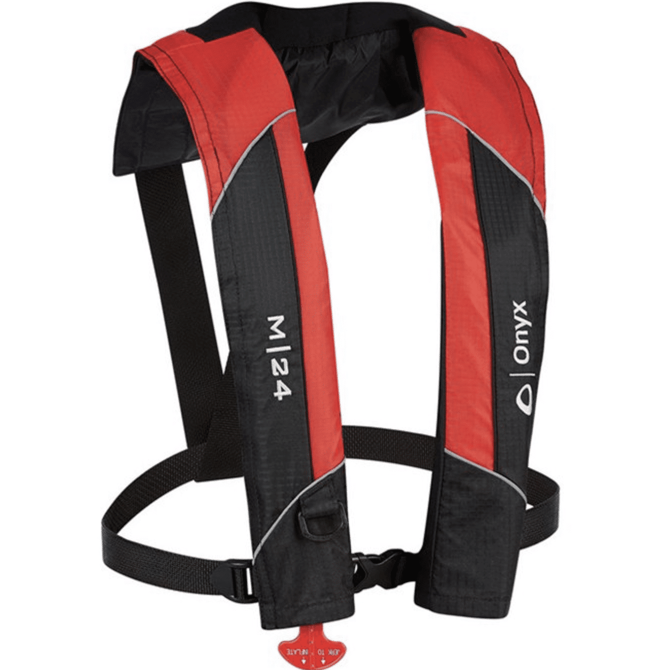 A red inflatable life jacket